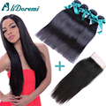 Brazilian Straight Hair With Closure 7A Brazilian Virgin Hair With Lace Closure 4 Bundles Human Hair Weaves With Closure Sale