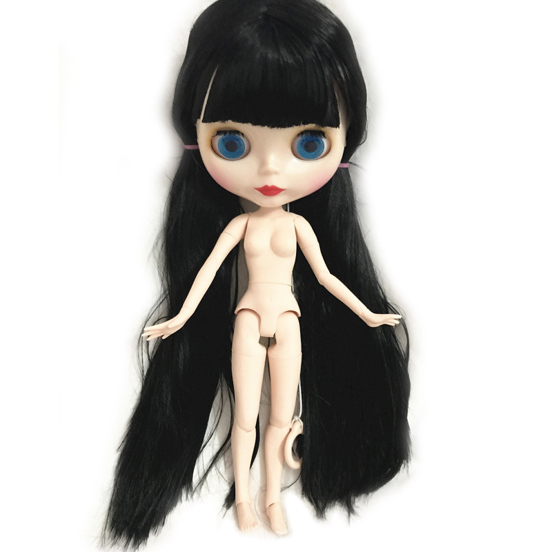 Blyth Dolls factory blyth doll black straight long hair with bangs/fringes white skin joint body 1/6 toy for girl gift factory blyth doll joint body 1 6 doll blyth 2 braids central cut hair with light makeup for diy 19 joints body toy for girl