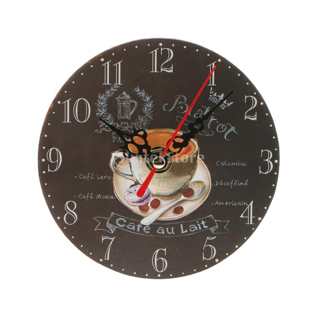 Vintage Wooden Wall Clock Round Clock Antique Retro Home Kitchen Decor
