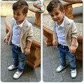 ST148 2015 new baby boys' loose-fitting clothing sets kids clothes coat +T-shirt +jeans pants 3 pcs / Set kids casual set retail