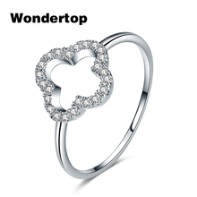 WONDERTOP Authentic Sterling 925 Silver Cute Four Leaf Clover with Clear Cubic Zircon for 2017 Winter Women Fashion Jewelry