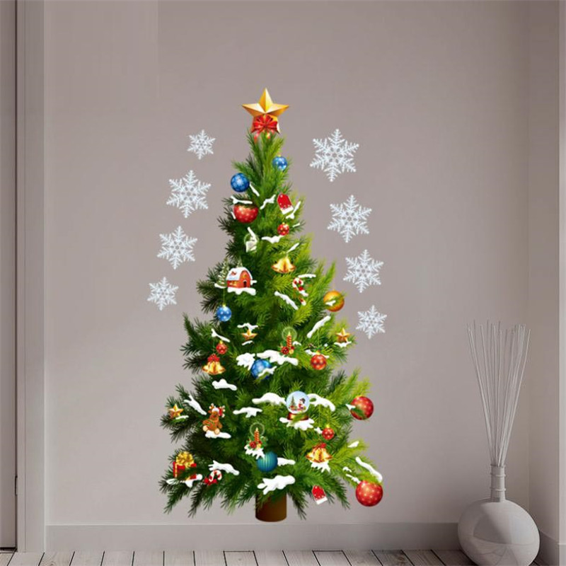 Christmas tree wall sticker decals snowflake store window for Christmas wall mural plastic