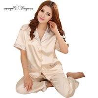 Tinyear Ladies Sexy Silk Satin Lace Pyjama Set Pijama Set Turn Down Collar Sleepwear 2017 Spring