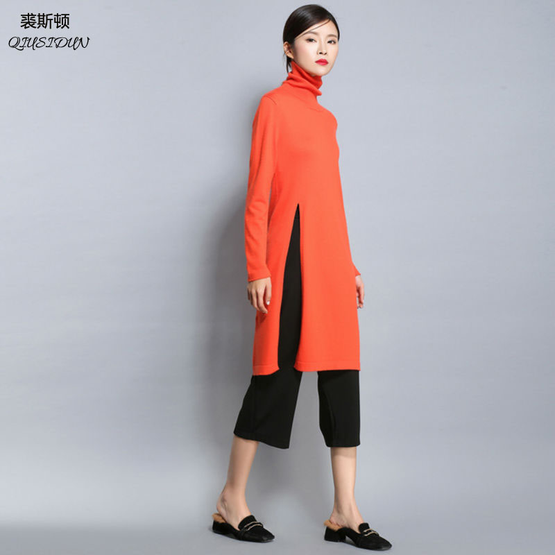 The 2017 side slit turtleneck dress female  Fashion show thin waist long women's Computer knitting sweater The spring and autumn