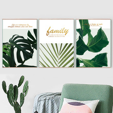 Green Big Tropical Leaf Golden Quotes Wall Art Canvas Painting Nordic Posters And Prints Pictures For Living Room Decor