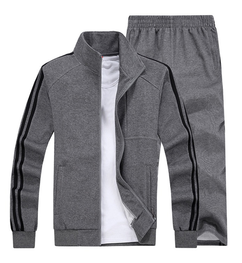 2018 Men's Seasons Sportswear Set 2Pcs Coat+Pant Stand-up Cardigan Leisure Suits Outdoor Sports Leisure Suits Plus Size 8XL stand collar twist zip up cardigan