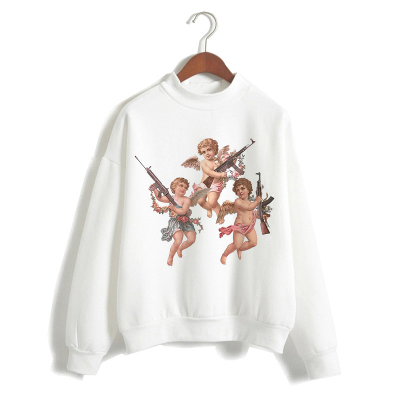 Angel Women Hoodie Cartoon Cupid 2019 Harajuku Top Hood Regular O-Neck Korean Casual Sweatshirts Oversized Female