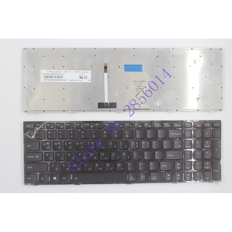 NEW Korean Laptop Keyboard For Lenovo Y590 Y500 Y510P KR Laptop Keyboard With Frame Blacklight laptop keyboard for asus n551jq n551jw n551jx n551vw n551z n551zu red word sp spain black with blacklight without frame