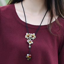 sweater vintage necklace copper flowers pendant carnelian and aventurine vintage long rope chain fashion ethnic jewelry 2018