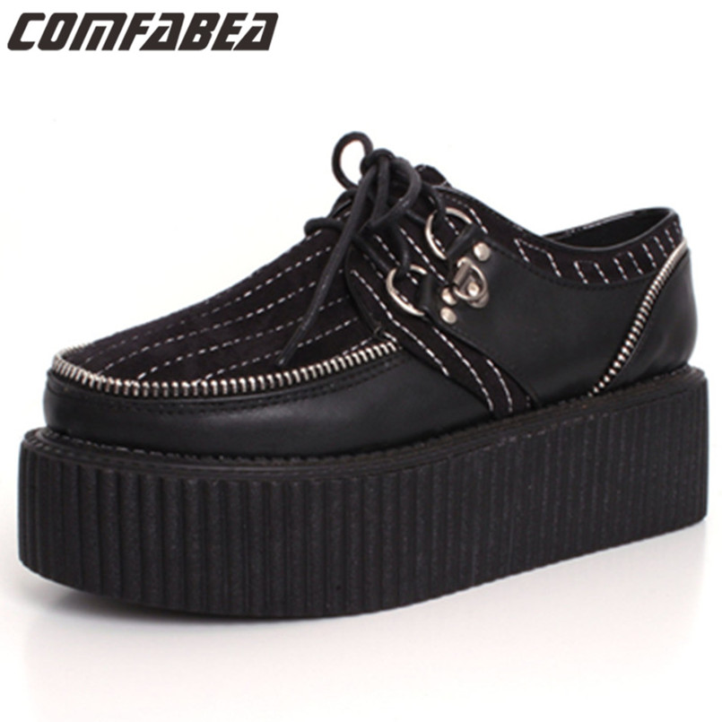 Size 34 Spring Autumn street punk black creepers lace-up zipper creepers  platform goth punk shoes women creeper c719947592d7
