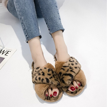 COOTELILI Winter Women Home Slippers with Faux Fur Fashion Warm Shoes Woman Slip on Flats Female Slides Leopard Plus Size 41 1