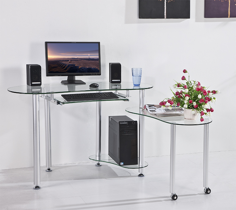 Tempered glass desktop computer stylish home office table for Stylish office table