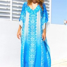 Womens Sexy V Neck Kaftans Maxi Long Beach Cover up Dress