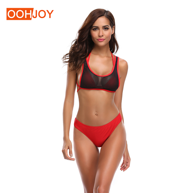 6554ab1d543af New Sexy Mesh Bra Bikini Women Swimsuit Girl Micro Bikini Solid Red Bathing  Suit S-XL Strappy Thong Bikini 3 Piece Bikini Set
