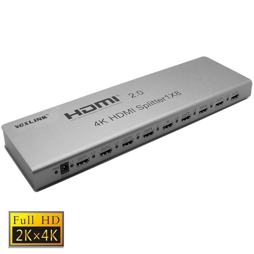 VOXLINK 1X8 HDMI 2.0 splitter 4K 3D 1 In 8 Out HDMI Switcher Splitter Video Converter Support HDCP2.2,EDID with power adapter 1 x 4 hdmi splitter hdmi 1 4 with 3d 4k support