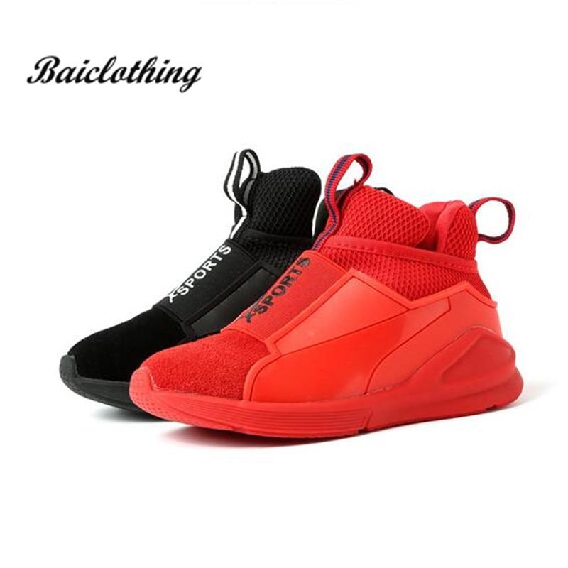 2018 Frühling Kinder Sport Schuhe Leder Jungen Turnschuhe Mädchen Casual Schuhe Schwarz Rot Farbe Weichen Bequemen Kinder Wohnungen Schuhe Eine GroßE Auswahl An Waren