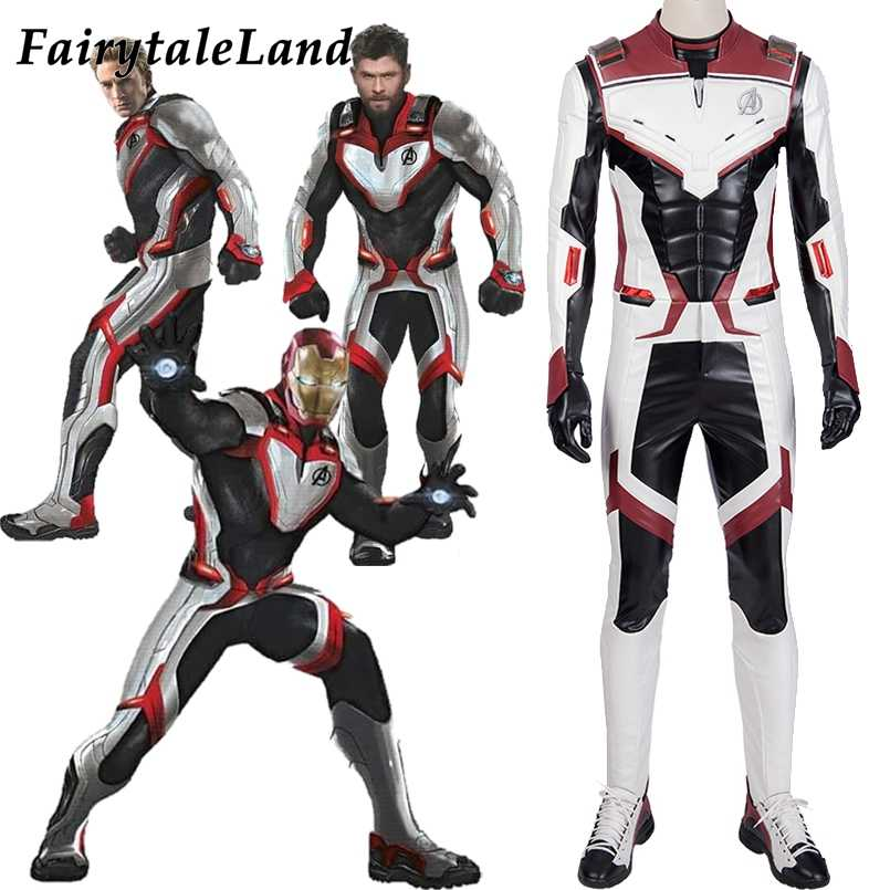 Avengers Endgame Cosplay Costume Jumpsuit Avengers Team Uniform Iron Man Black Widow White Suit Quantum Space Time Travel Suits