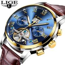 LIGE ساعة رجالي العلامة التجارية الفاخرة التلقائي ساعة ميكانيكية الرجال ساعة توربيون مقاوم للماء ساعات رياضية Relogio Masculino هدية