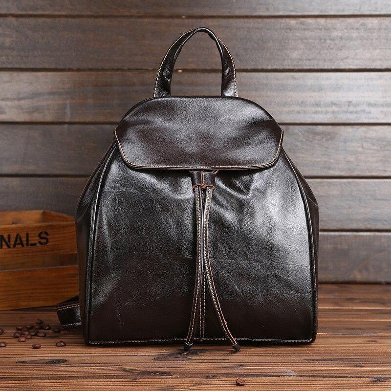 Vintage première couche de véritable cuir de vache femmes sac à dos petites filles sacs à dos Simple mode style femmes sacs de voyage