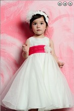 free shipping new 2014 Wedding Party Dresses Girls Pageant Gowns red saahes Princess dresses white long Flower Girl