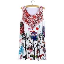 2015 New summer dress Vintage fashion Women Lady Girl Sleeveless Owl  Graphic Printed Short Mini Dresses 2a5c4186f088
