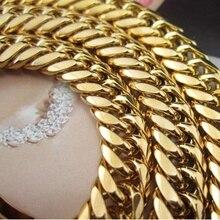 """Толстое тяжелое ожерелье из твердого золота, мужское ожерелье с цепочкой, подарок 2"""", длинное"""