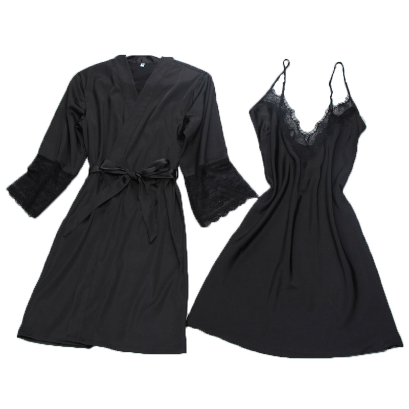 Brand sexy womens robe & gown sets twinest bathrobe + mini night dress two pieces sleepwear womens sleep set faux silk