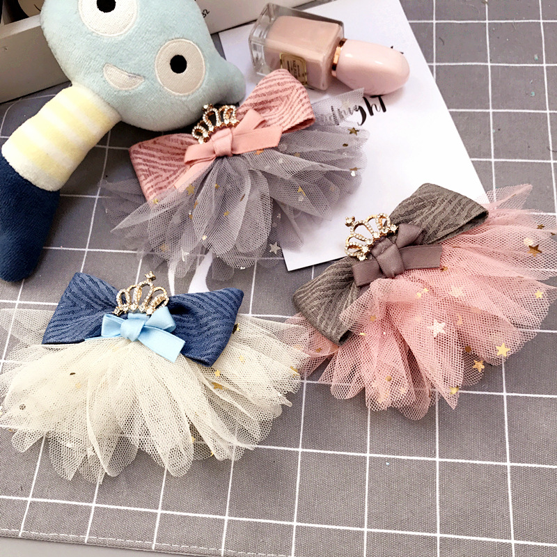 Korea Lace Flower Crystal Crown Side Bangs Clip Hair Accessories Rim Hair Clips For Girls Hairpin Bow K Hairgrips ...
