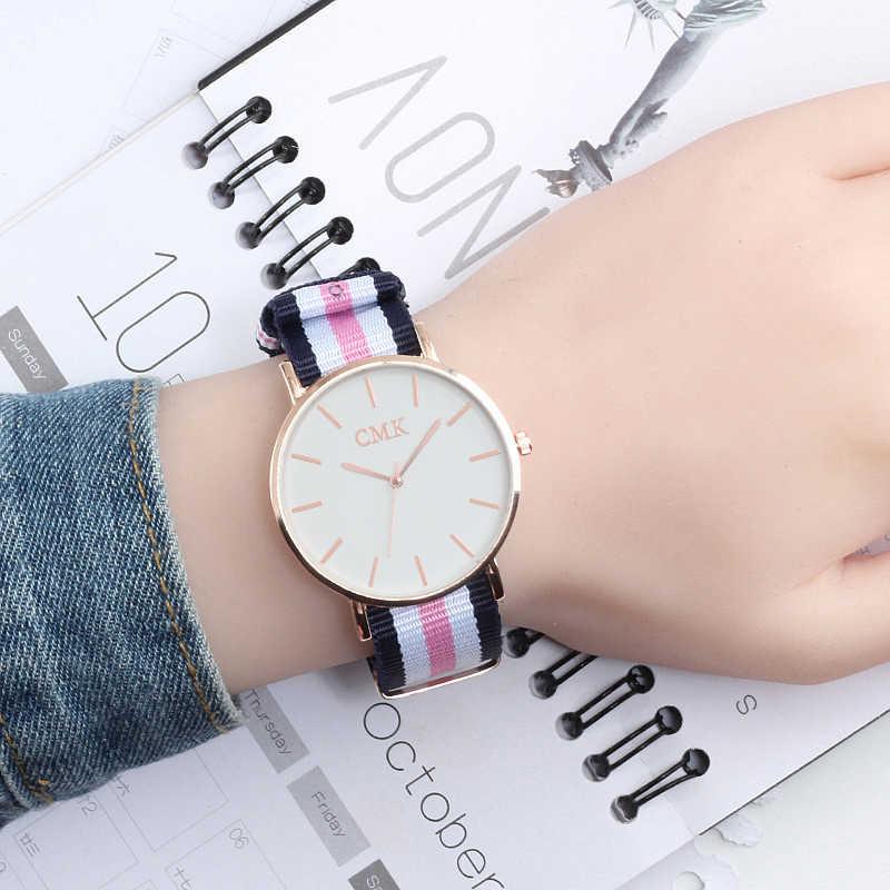 Nueva moda mujer relojes Casual deportes reloj del cuarzo de los hombres  correa de Nylon de 7ac099dd2179