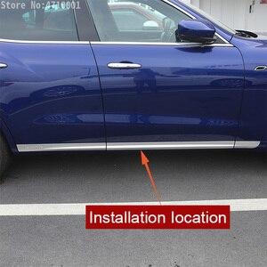 Image 2 - רכב סטיילינג ABS Chrome רכב גוף צד דלת קישוט רצועות לקצץ עבור מזראטי Levante 2016 מדבקות אביזרים חיצוניים 6pcs