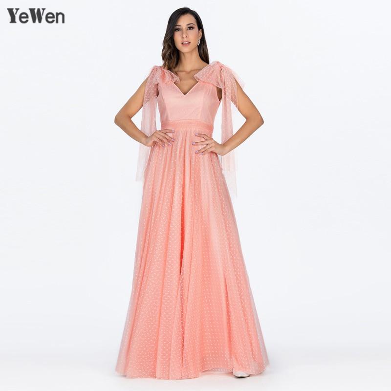 Simple Dot V neck Long Sleeve A Line Evening Dress 2018 Long Backless Floor Length Party Gown Peach Color Dresses Robe De Soiree
