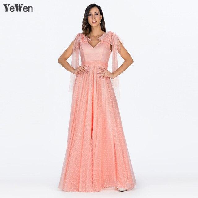 fe8716d076c Простое вечернее платье в горошек с v-образным вырезом и длинным рукавом  2018 длинное платье