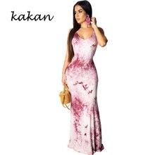 Kakan summer new women's print dress strapless backless dress bohemian beach yellow purple dress bohemian strappy tribal print backless dress