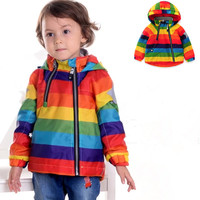 Rainbow Regular Thick Children Girl Wind Coat Trench Jacket Spring Autumn Winter For 3 8yrs Outerwear
