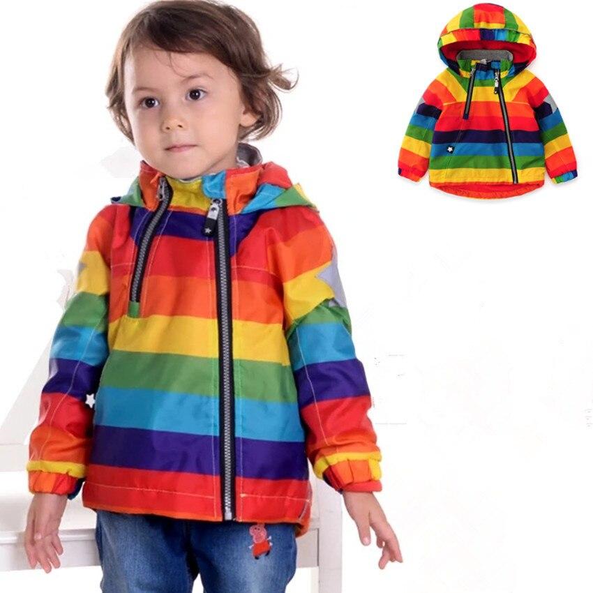 0ed183f9b13ec 2018 kış Rinbow çocuk ceket bahar sonbahar rüzgarlık çocuk ceket kız erkek  giyim Windcoat Polar içinde 1-7yrs