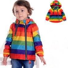 Chaqueta de Arco Iris para niños y niñas, prendas de vestir Vintage para primavera y otoño, abrigo rompevientos para niñas, ropa para niños de 1 a 7 años, en Stock, en oferta