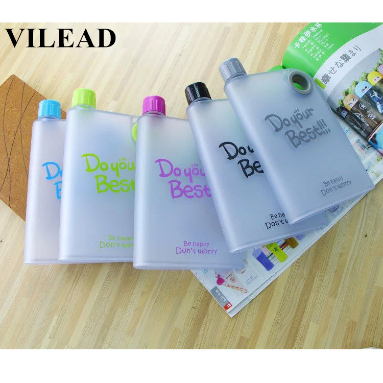 VILEAD 380ml Novelty Camping Sport Water Bottle Plastic Paper Space Bottle Portable Flat Notebook Bicycle Beautiful Water Bottle