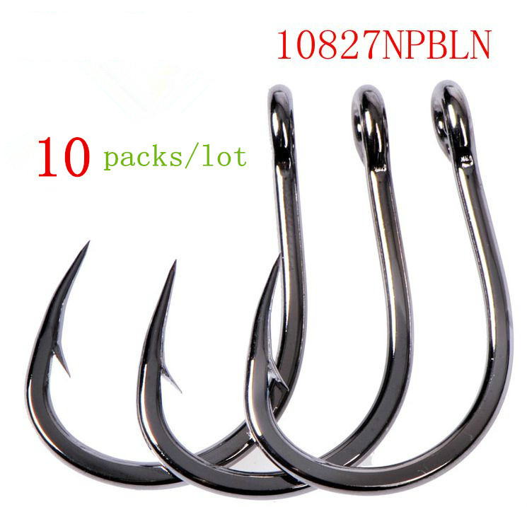 Mustad 10827np# 10packs/lot hooks sea fishing tuna iron board hooks high carbon steel hook 4X strong jig hooks live bait jigbait