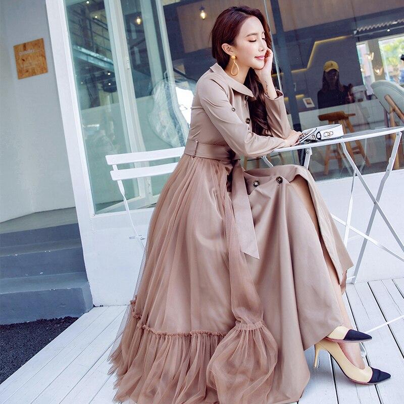vent Boutonnage Longue Nouveau Femmes Robe Printemps Ultra Coupe Patchwork Kaki Simple Outwear 2018 Gaze Femme Mode Trench fxq4FPw