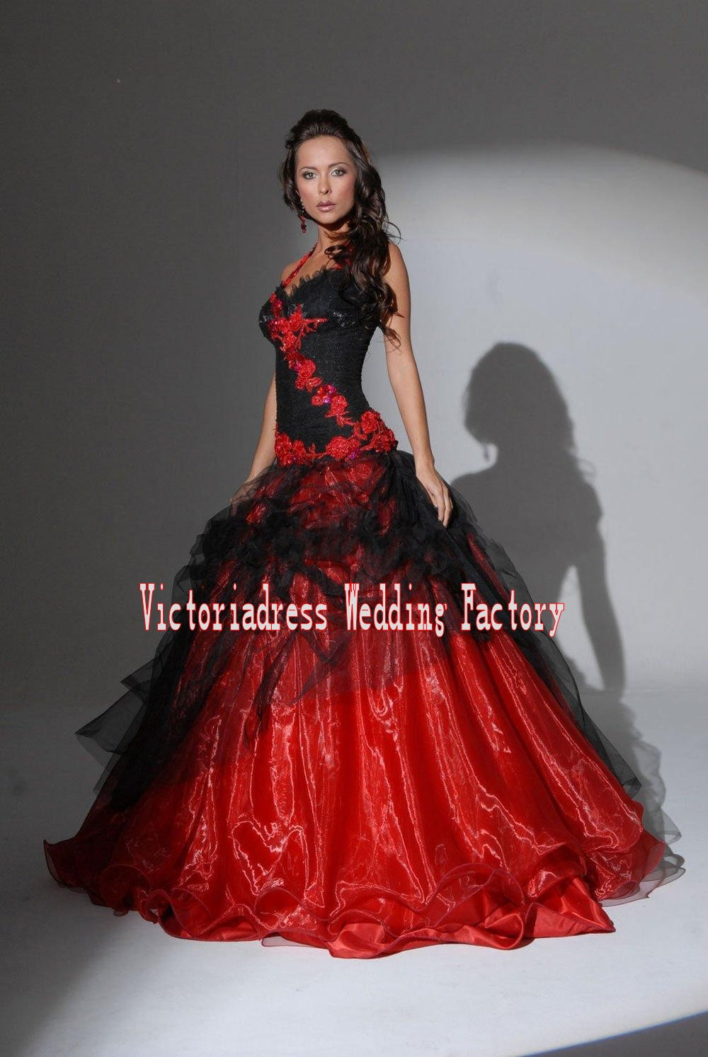 Gothic wedding shop - Casamento Red And Black Ball Gown Gothic Wedding Dresses Backless Lace Appliques Custom Made Plus Size