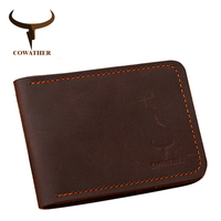 COWATHER 100 Cow Leather Men Driving Licence Card Holders Crzay Horse Leather Solid Mens Purses Male