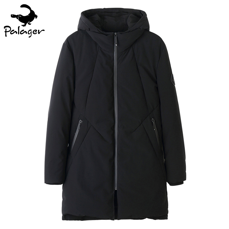 Palager Black Parka Coat Men High Quality 80% White Duck Down Jacket Thick Warm Winter Jackets Casual Hooded Long Parkas Men
