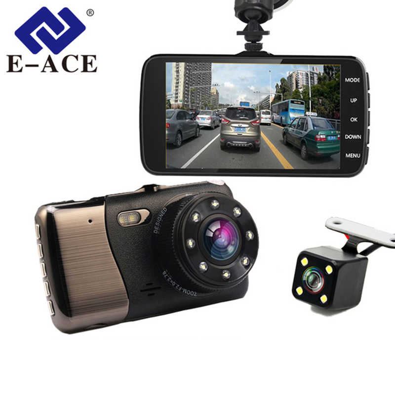 E-ACE Car Dvr 4,0 cala LDWS ADAS Night Vision Camera FHD 1080P podwójny obiektyw Dash Cam z samochodem Distance Warning Auto Registrator