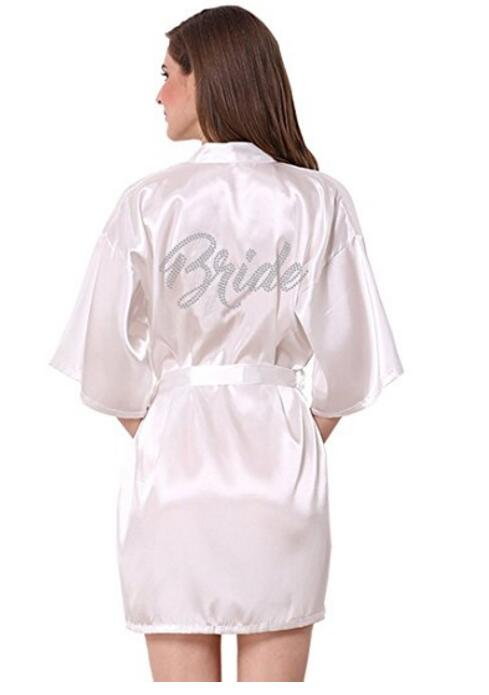 092dff18bf4f7 Fashion Silk Bridesmaid Bride Robe Sexy Women Short Satin Wedding Kimono  Robes Sleepwear Nightgown Dress Woman Bathrobe Pajamas