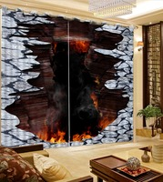 Photo customize any size Luxury European Modern birdge fire roman curtains for living room