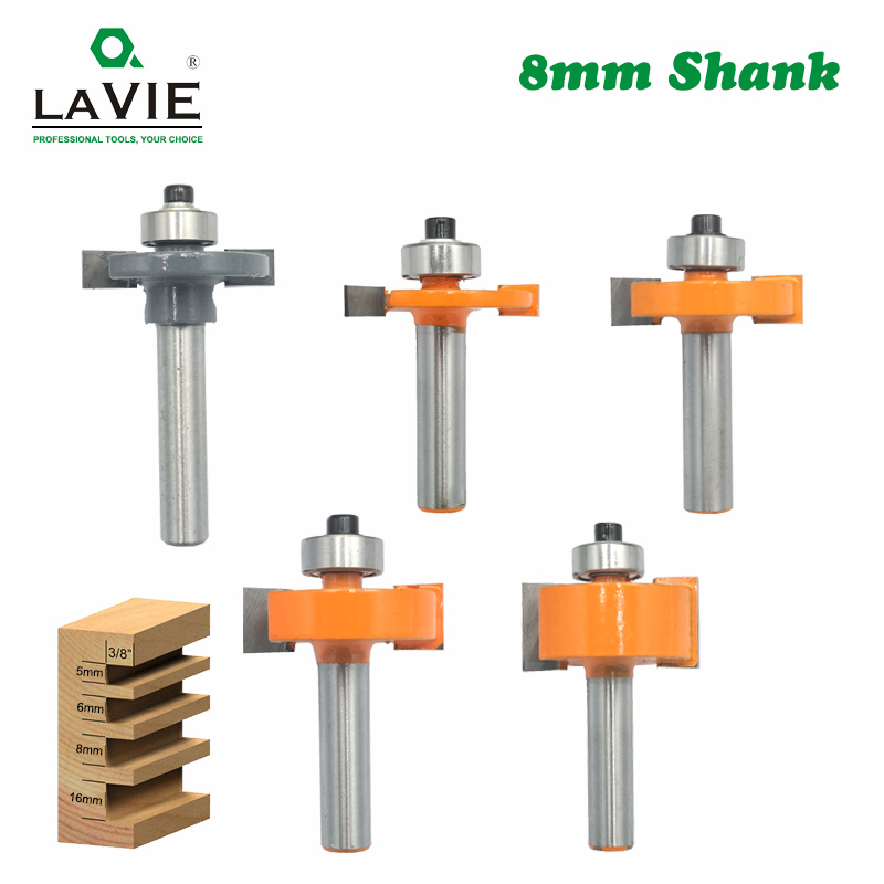 5pcs 8mm Shank T Slot Router Bit Bit With Bearing Wood Slotting Milling Cutter T Type Rabbeting Woodwork Tools For Wood MC02092