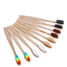 KESMALL3pcs/lot Bamboo Handle Toothbrush Rainbow Colorful Whitening Soft Bristles Bamboo Toothbrush Eco-friendly Oral CareCL0029 10 pieces lot bamboo toothbrush soft eco friendly wooden toothbrush cleaning oral care soft bristle