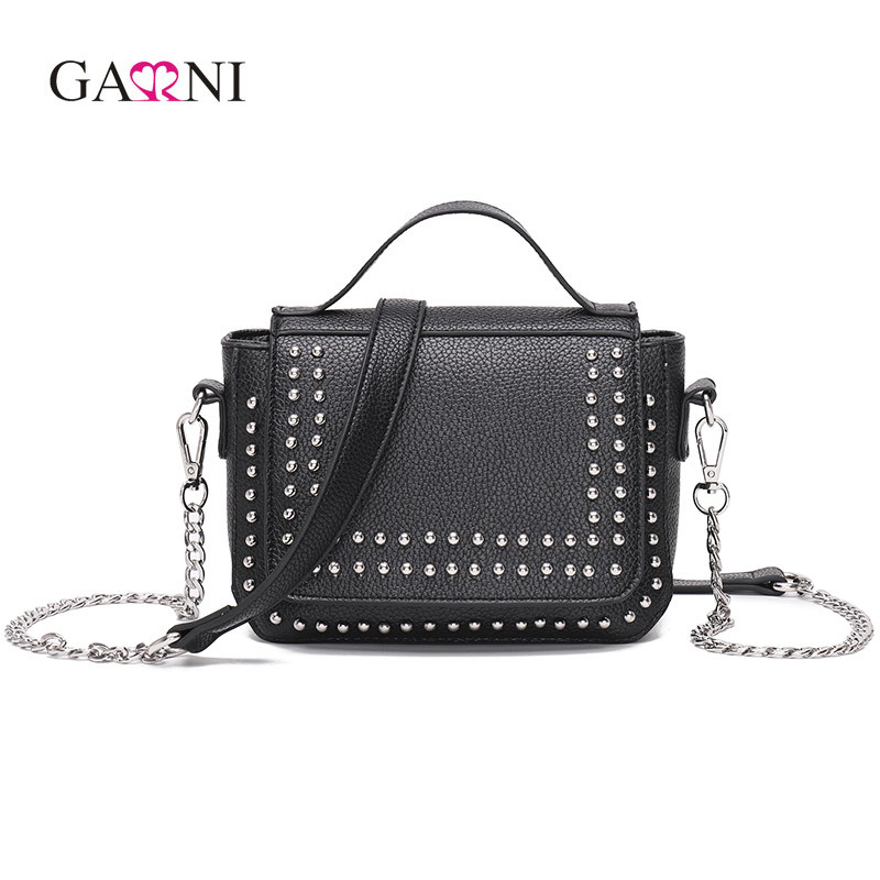 Garni 2017 Luxury Handbags Women Bag Designer Messenger Bags Rivet Chain Shoulder Bag High Quality PU Leather Crossbody Handbag luxury handbags women chain messenger bag lipstick lock designer woman black