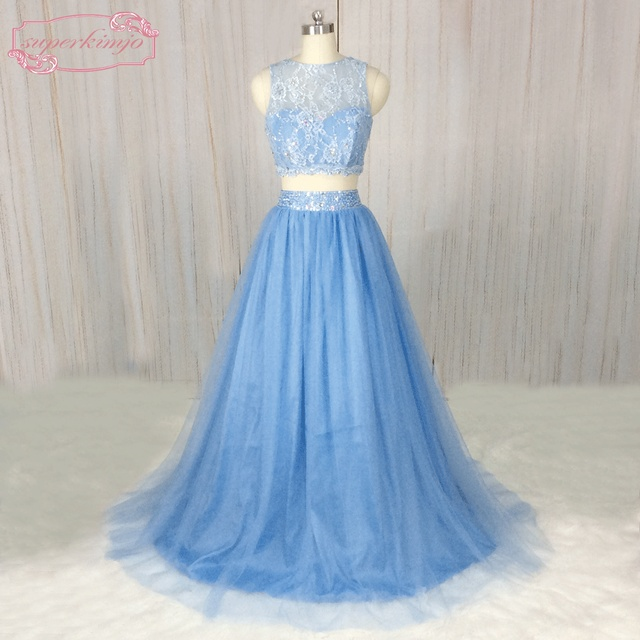 10105ac925d2b SuperKimJo 2018 New Arrival Formal Dresses 2 Piece Prom Dresses Long Lace  Beaded A Line Tulle Blue Prom Gown Casamento