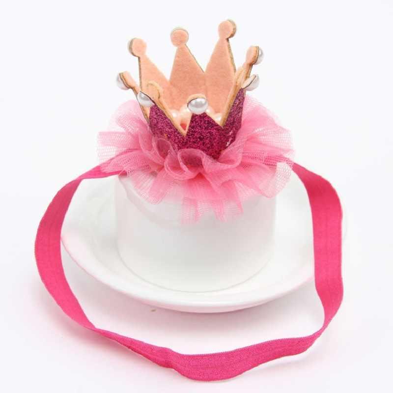 1 PC 2016 Newborn Mini Felt Crown+Glitter Elastic Lace Pearl Headband For Girls Hair Accessories Shiny Crown Princess Hair Clip
